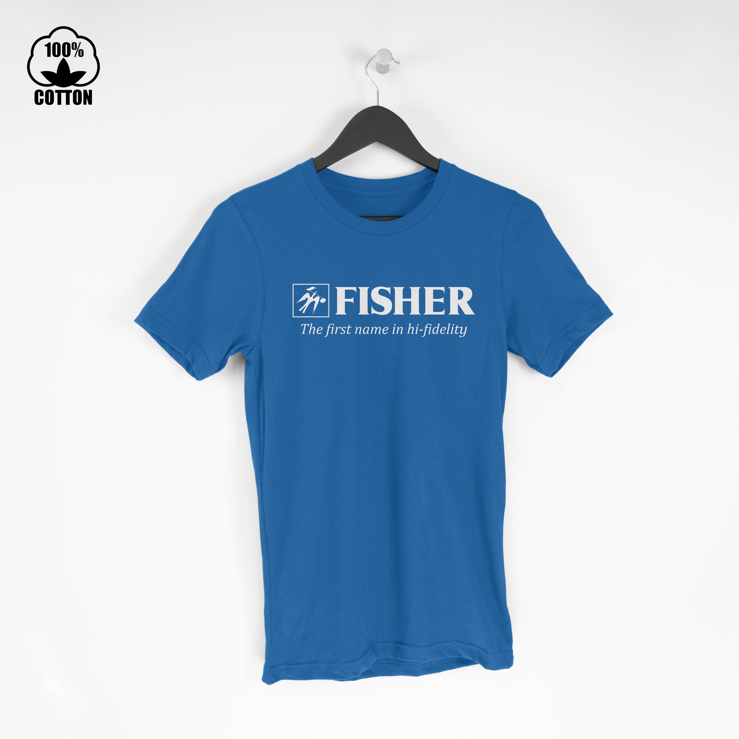 Fisher Logo Electronics Audio Stereo Components Hi-Fi Amplifier Tuner  Tshirt Size M-XXL USA RoyalBlue.jpg