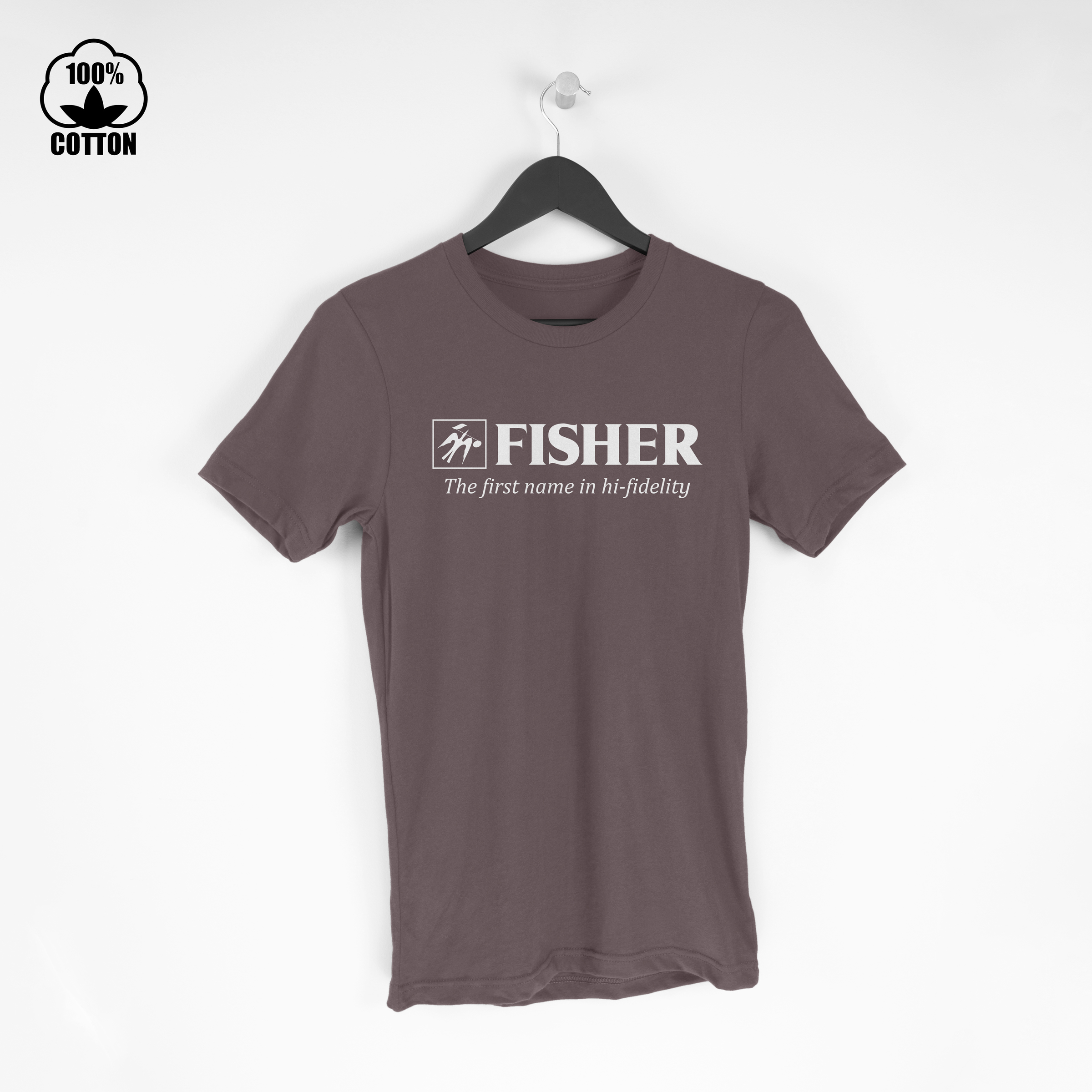 Fisher Logo Electronics Audio Stereo Components Hi-Fi Amplifier Tuner  Tshirt Size M-XXL USA SaddleBrown.jpg