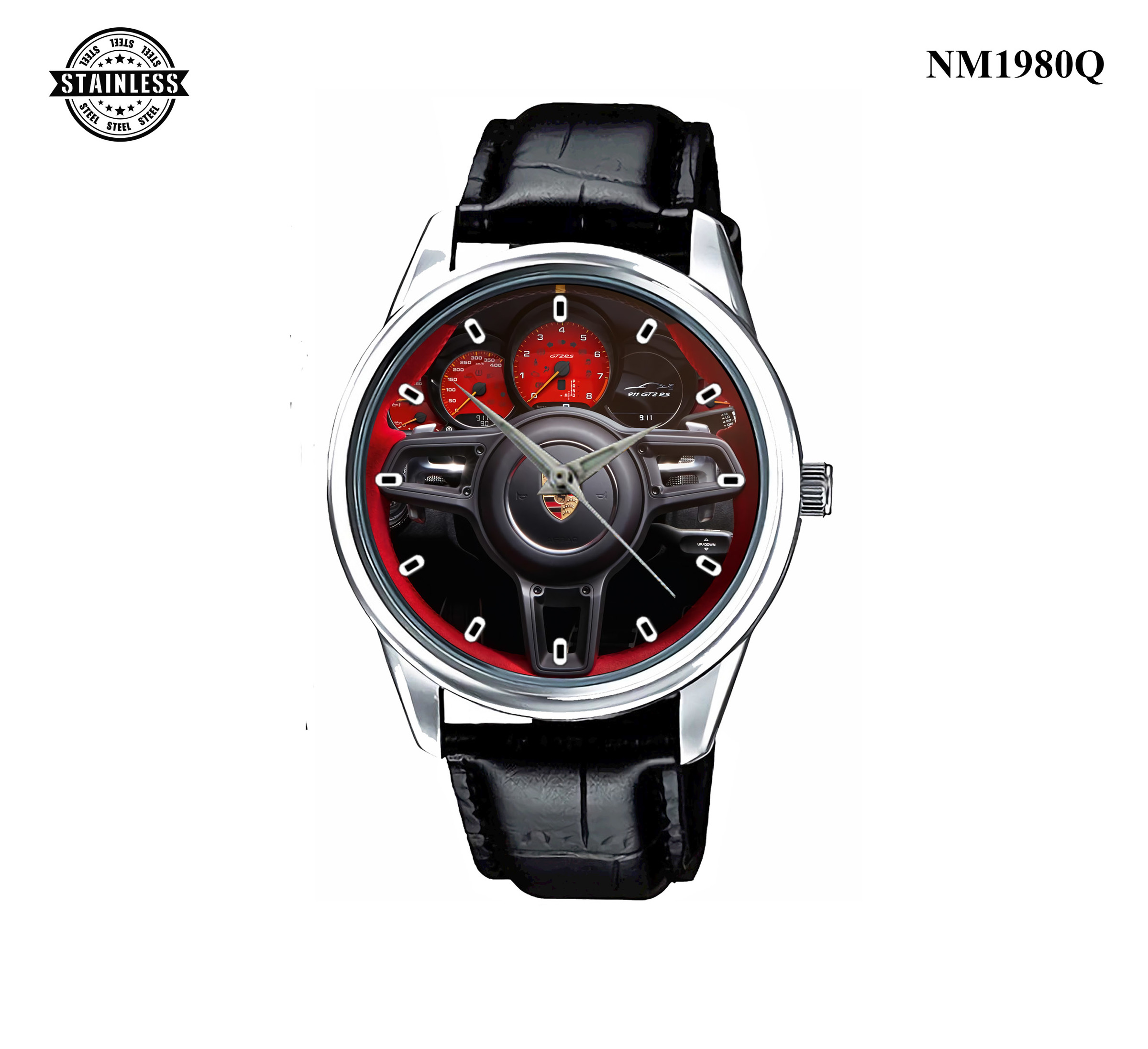 1.4 New Design porsche gt2 rs gt3 alcantara steering wheel 991 red Sport Leather Watch.jpg