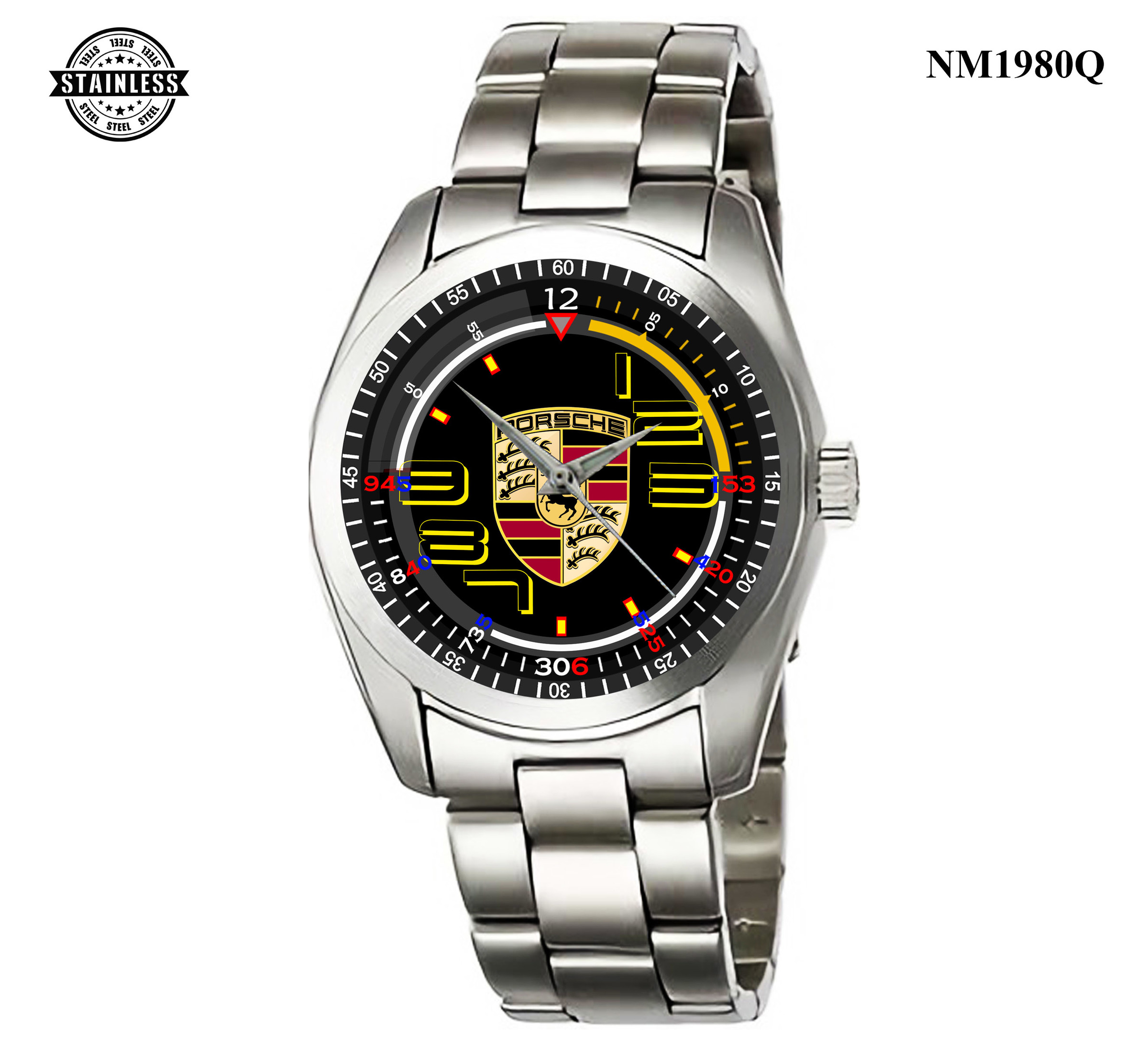 1.9 Rare Item Mens Jewelery porsche Logo All Series Sport Metal Watch.jpg