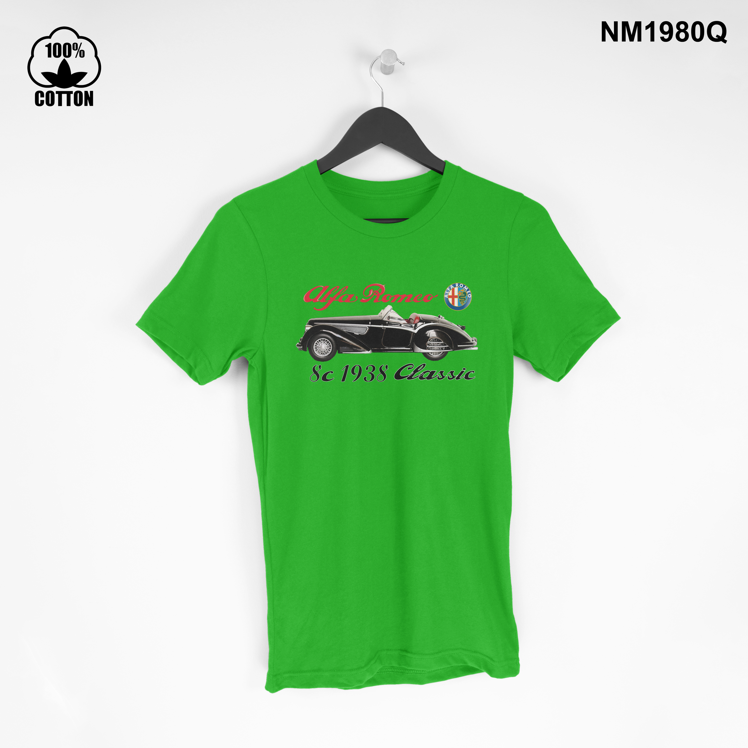 1.10 New Design Collectible car ,Alfa Romeo 8c 1938 Vintage, T Shirt Tee Unisex spring green.jpg