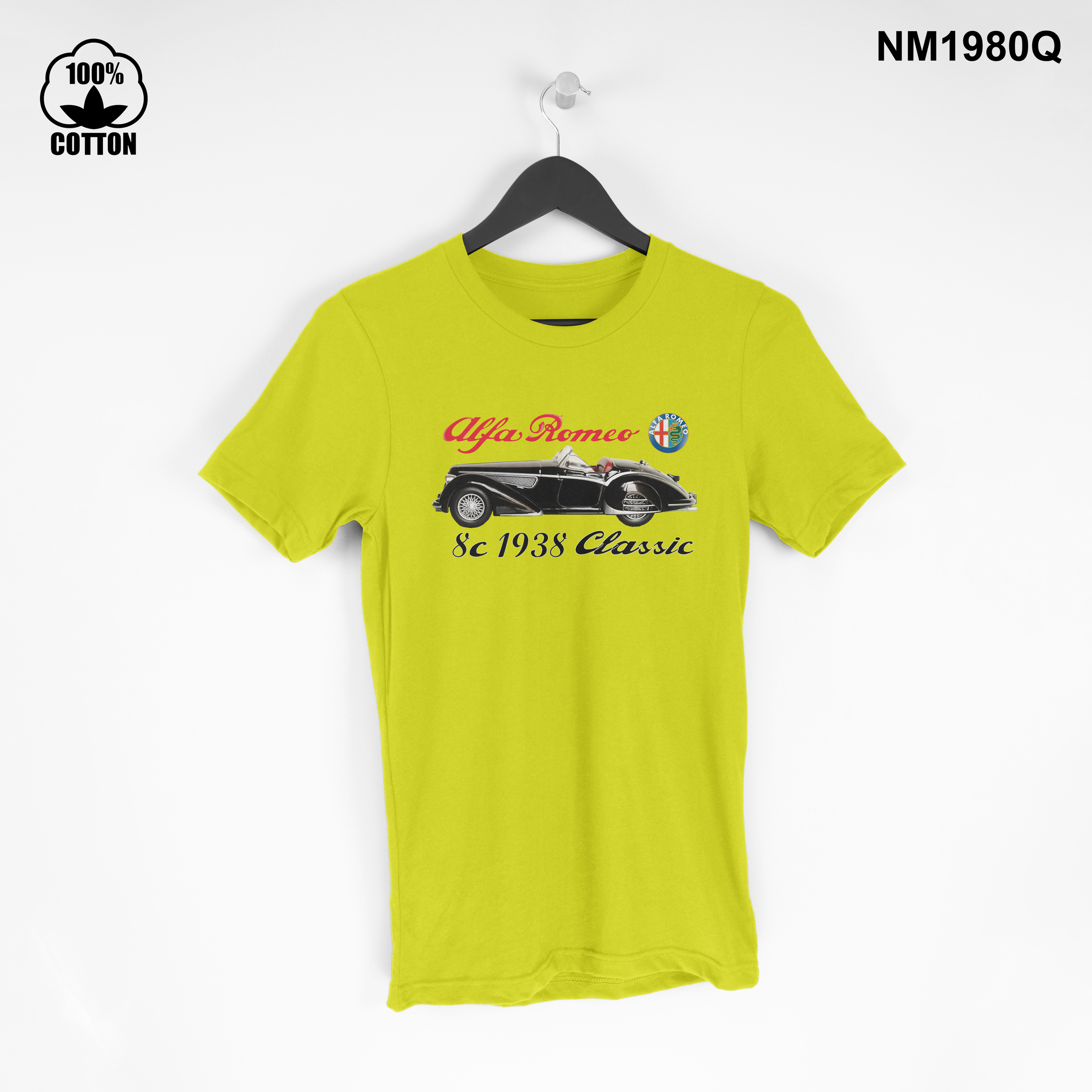 1.10 New Design Collectible car ,Alfa Romeo 8c 1938 Vintage, T Shirt Tee Unisex yellow.jpg