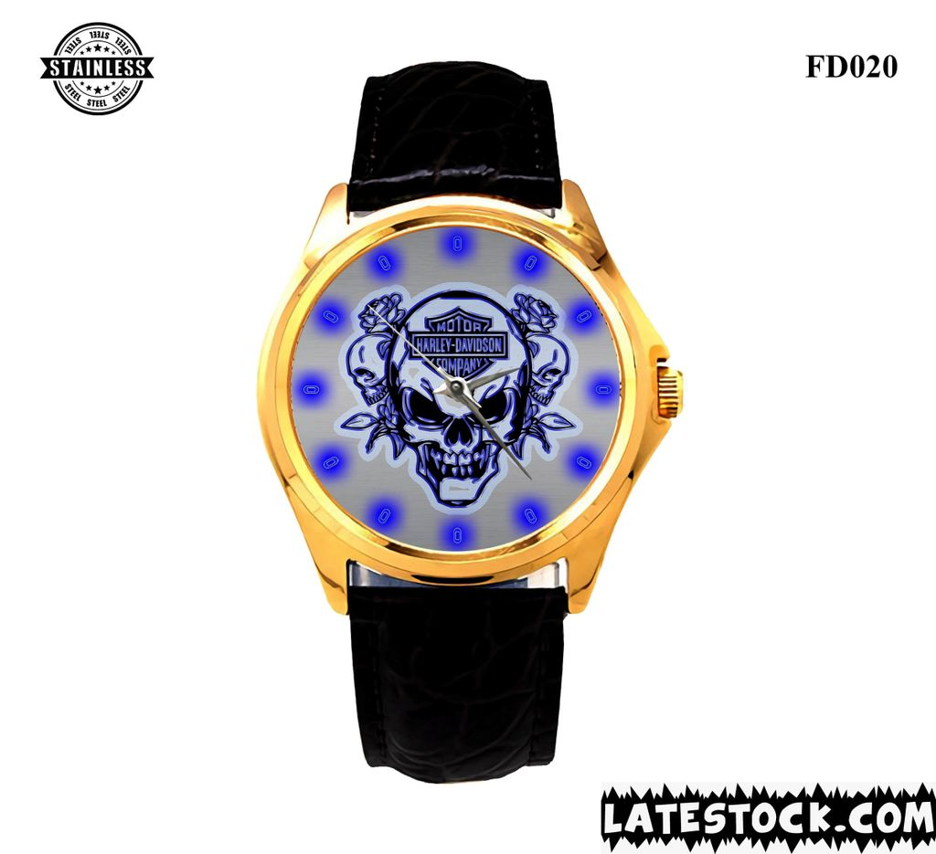 new limited edition- Harley-davidson-skull-logo-sport- metal- watches LEATHER BAND GOLD.jpg