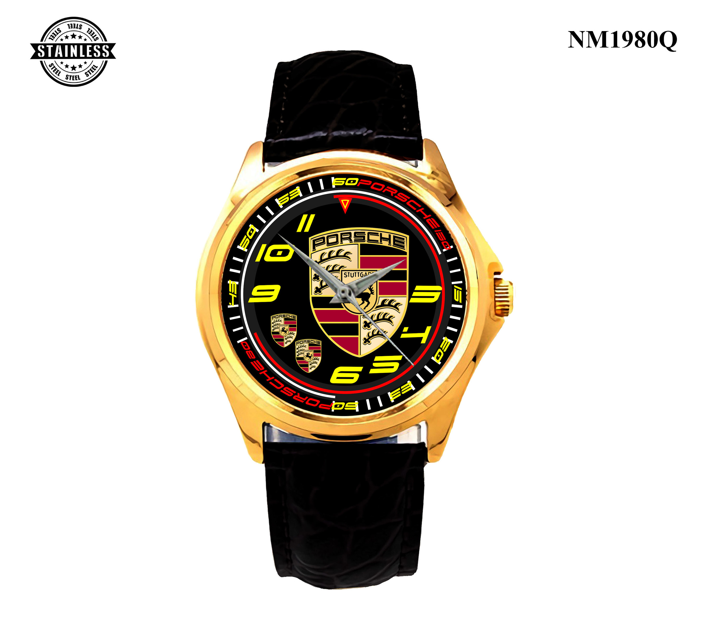 1.12 New Design Mens Jewelery porsche Logo Sport All Series Sport Leather Watch Gold.jpg
