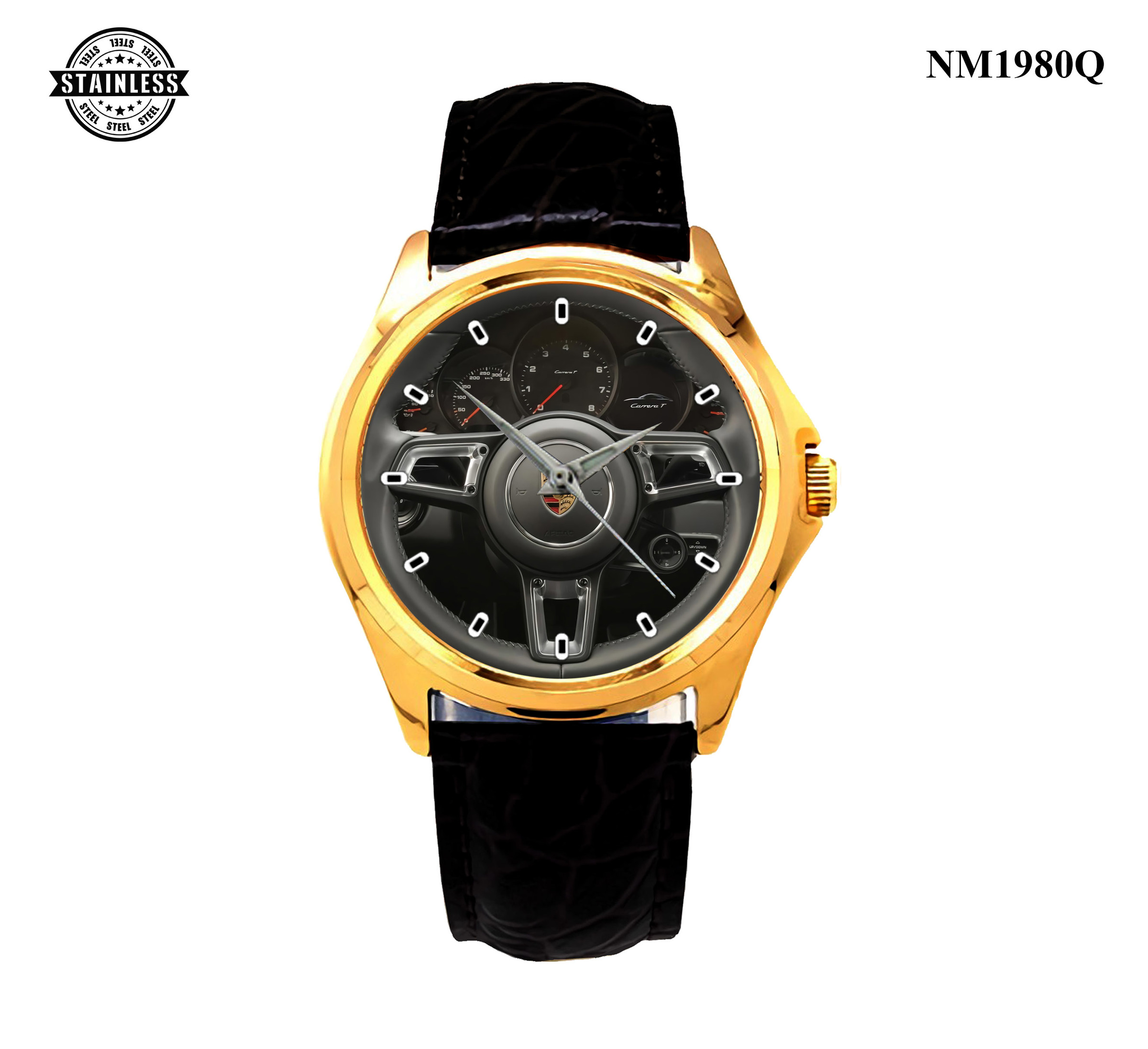 1.22 New Design Mens Jewelery 2018 Porsche 911 Carrera Steering Wheels Sport Leather watch Gold.jpg