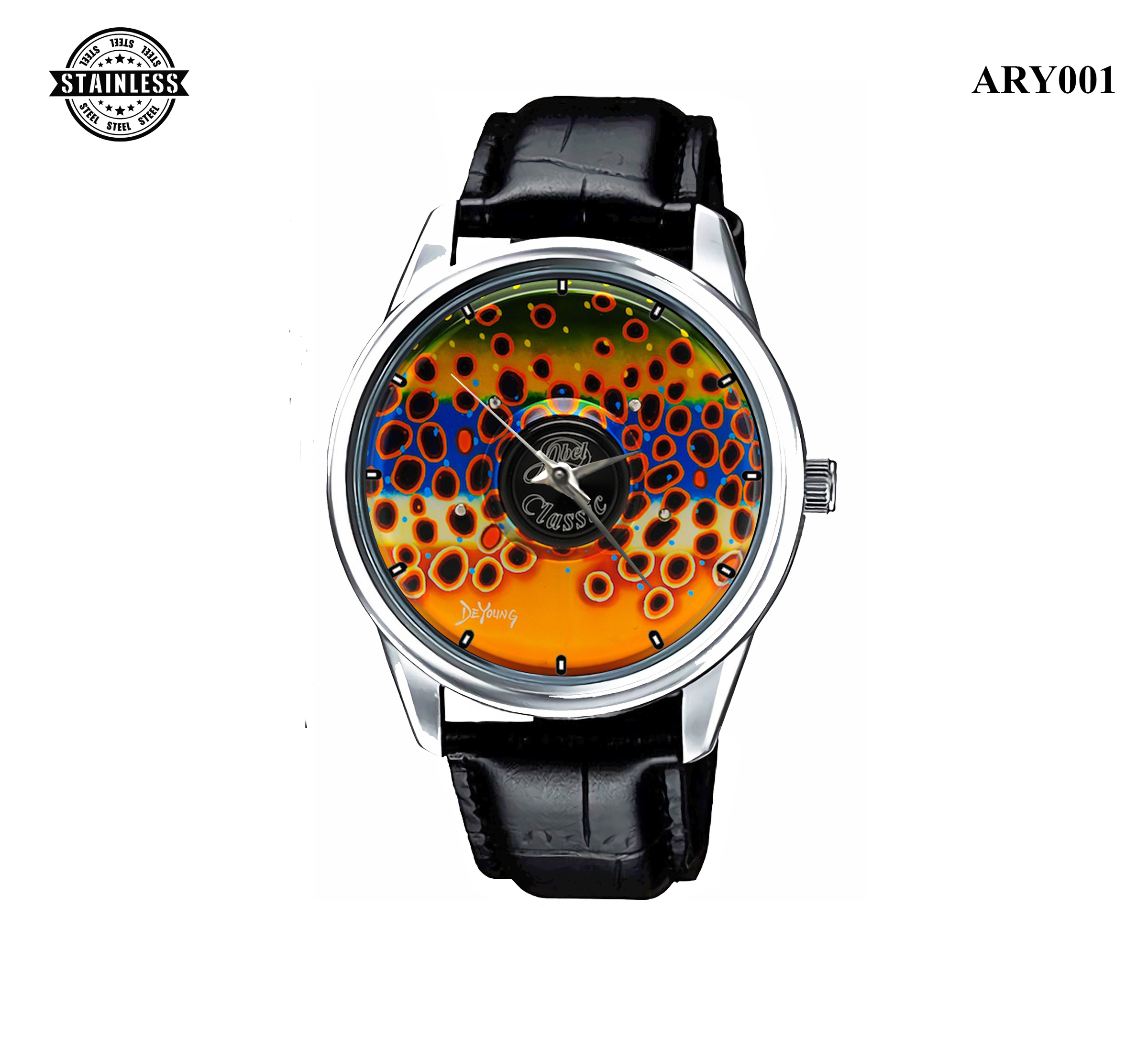 3.RARE!new design ABEL CLASSIC FLY REEL IN FISH Sport Metal Watch.jpg