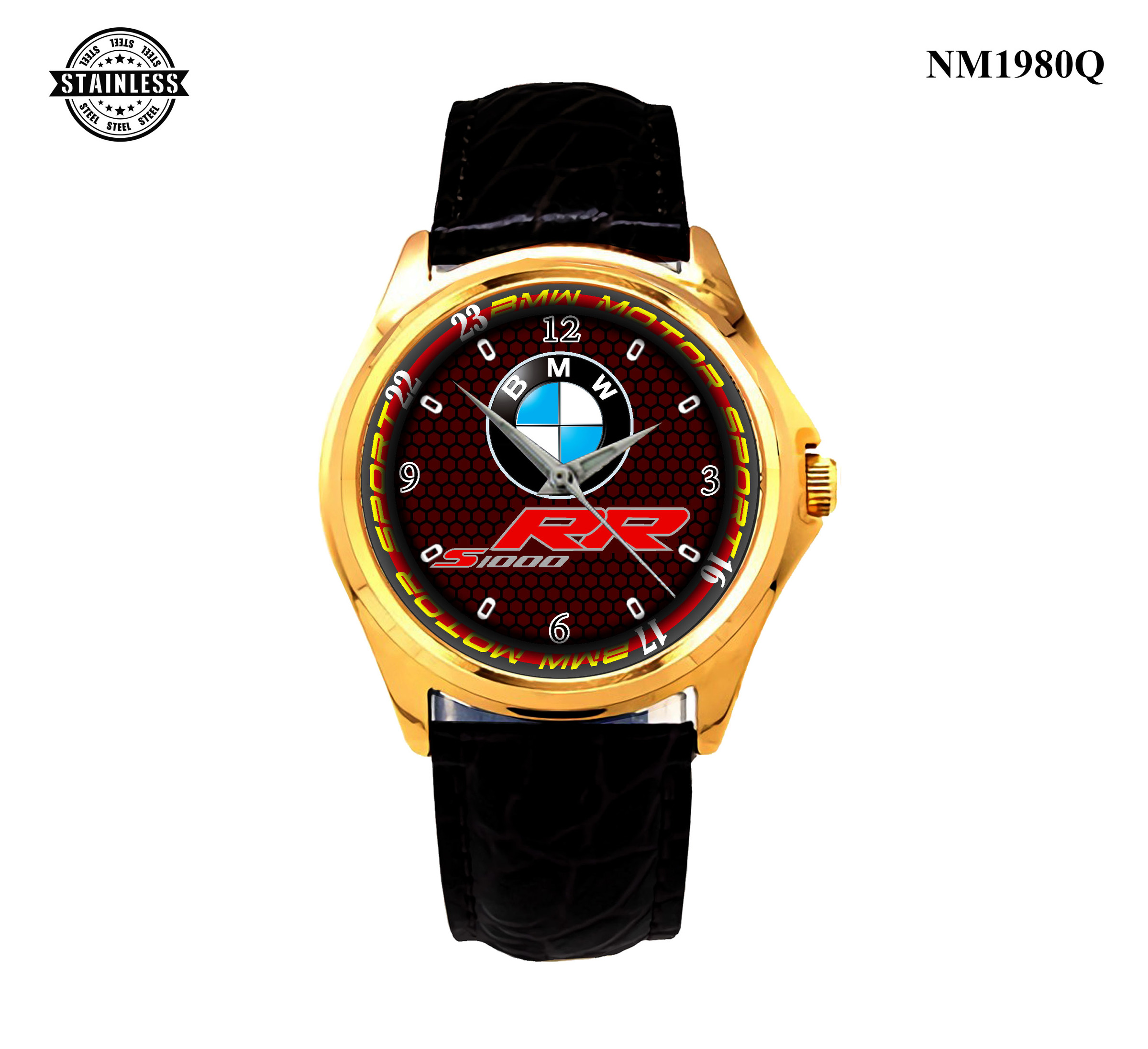 1.35 New Design Mens Jewelery BMW S 1000 RR  logo Sport Leather Watch Gold.jpg