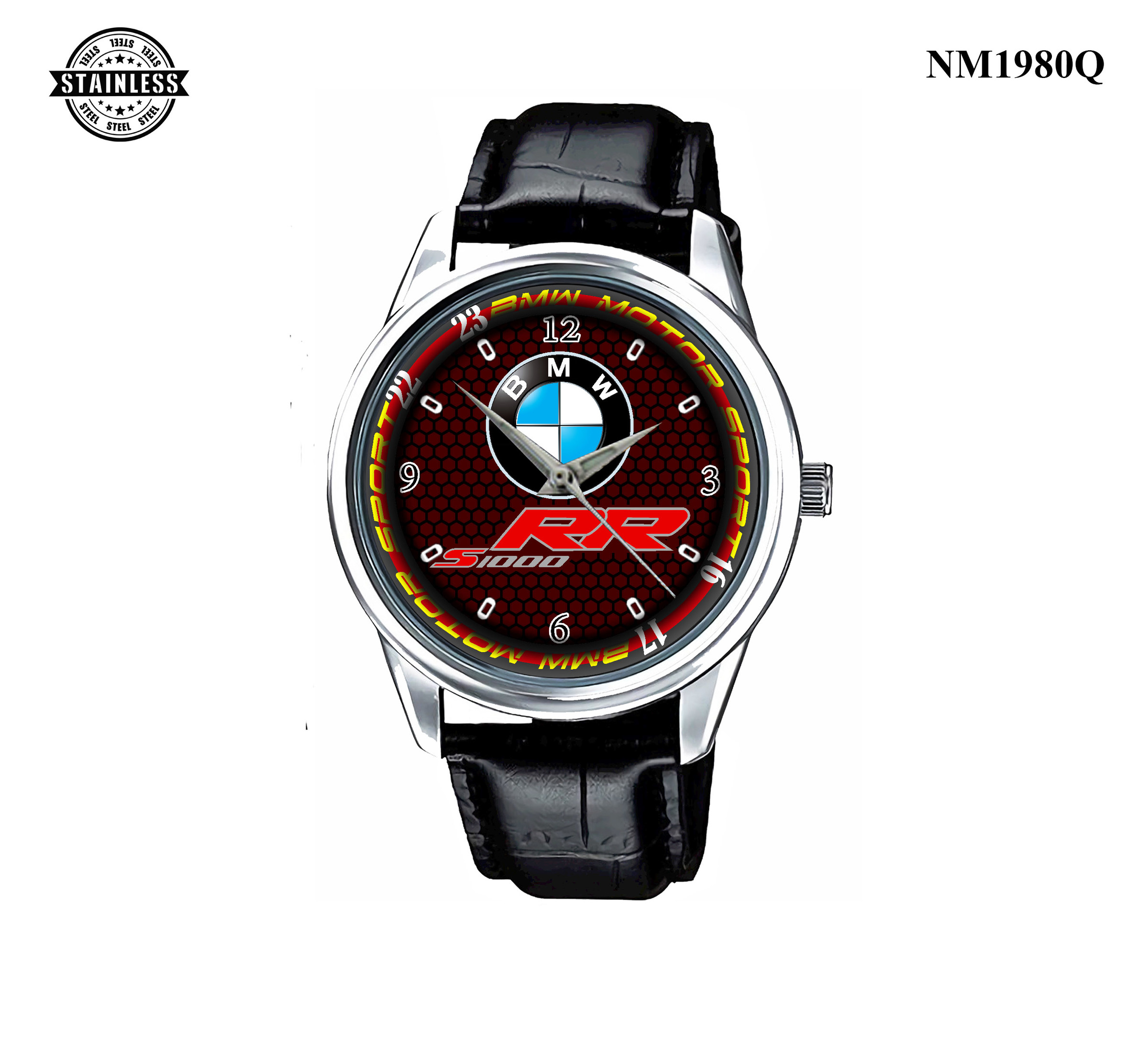 1.35 New Design Mens Jewelery BMW S 1000 RR  logo Sport Leather Watch Silver.jpg