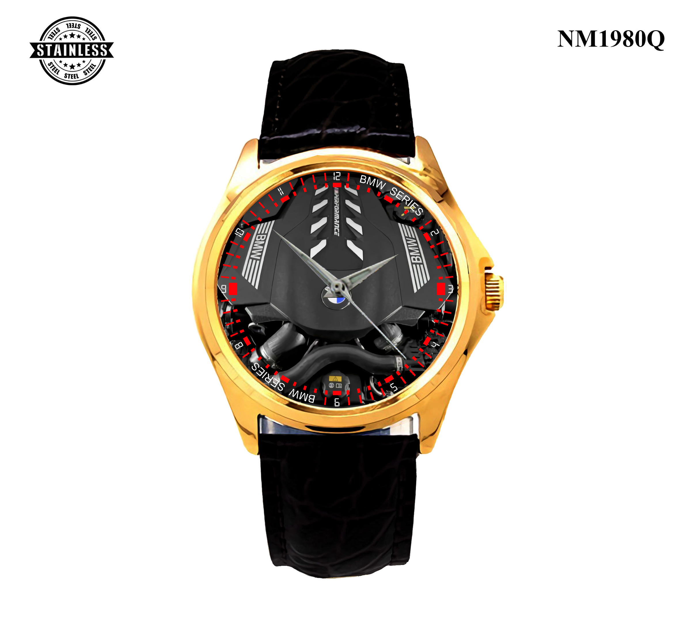 1.50 New Design Mens jewelery The all-new BMW 8 Series Coupe Machine Sport Leather Watch Gold.jpg