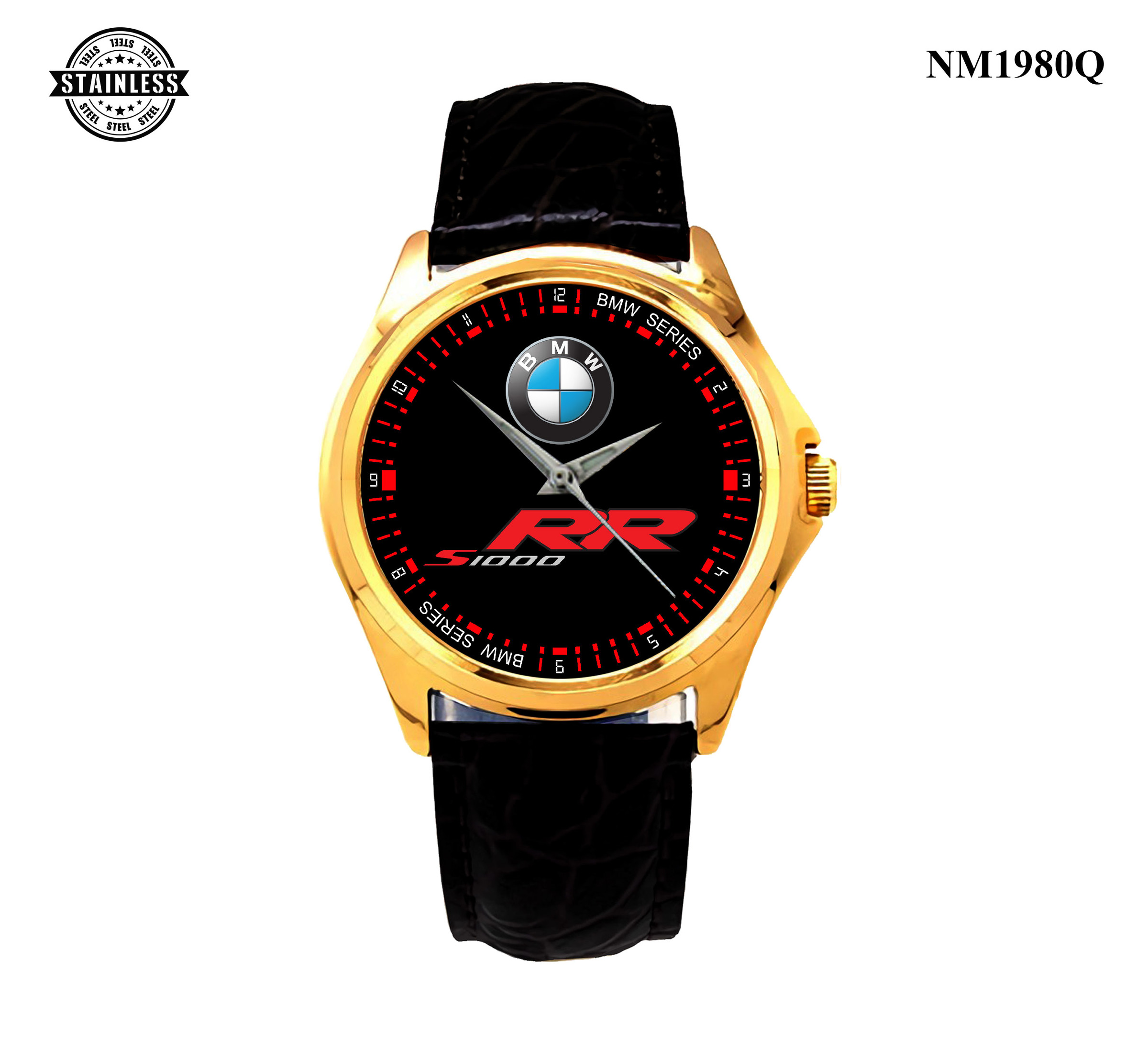 1.53 New Design Mens jewelery BMW S 1000 RR Sport Leather Watch Gold.jpg
