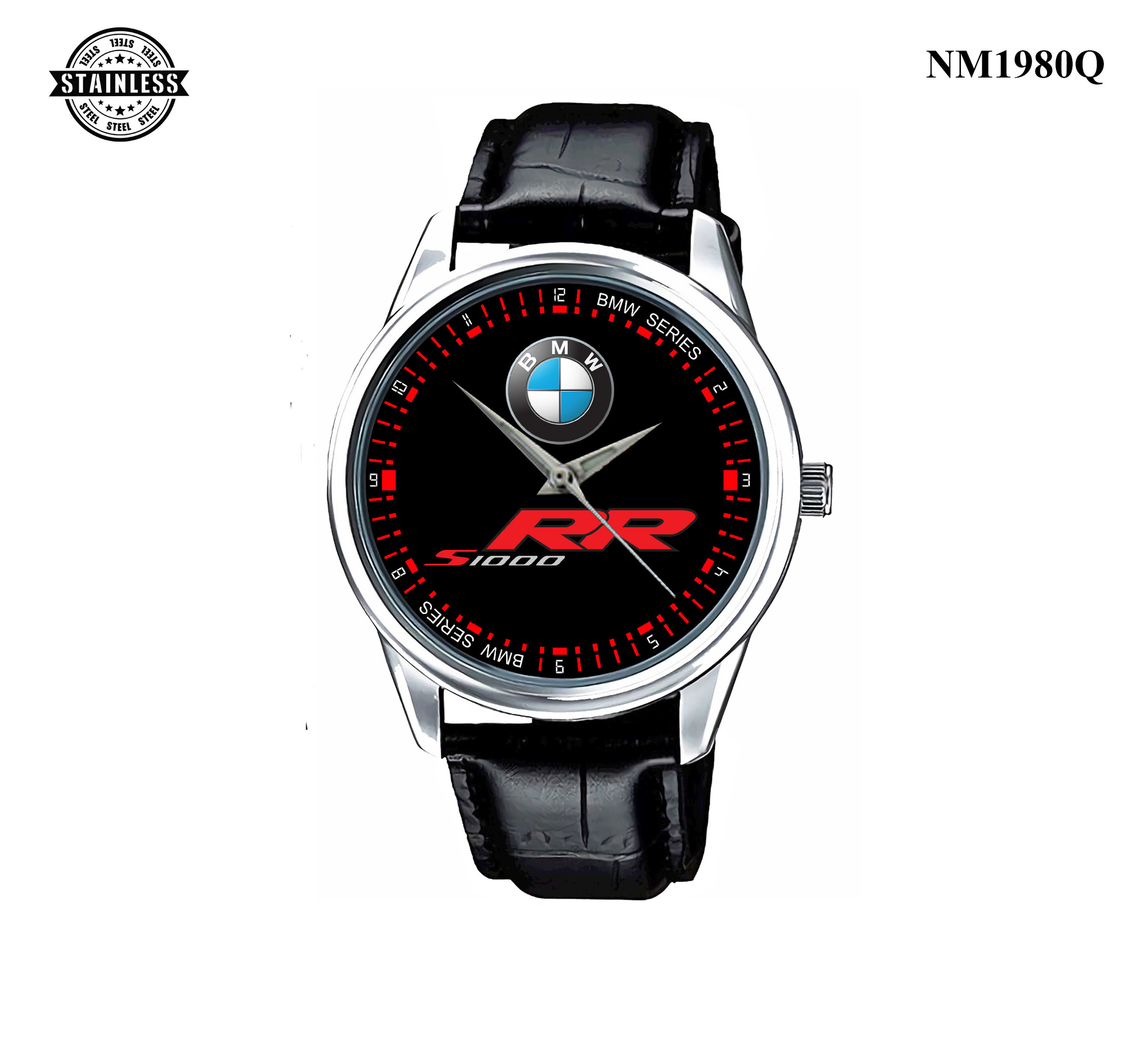 1.53 New Design Mens jewelery BMW S 1000 RR Sport Leather Watch Silver.jpg