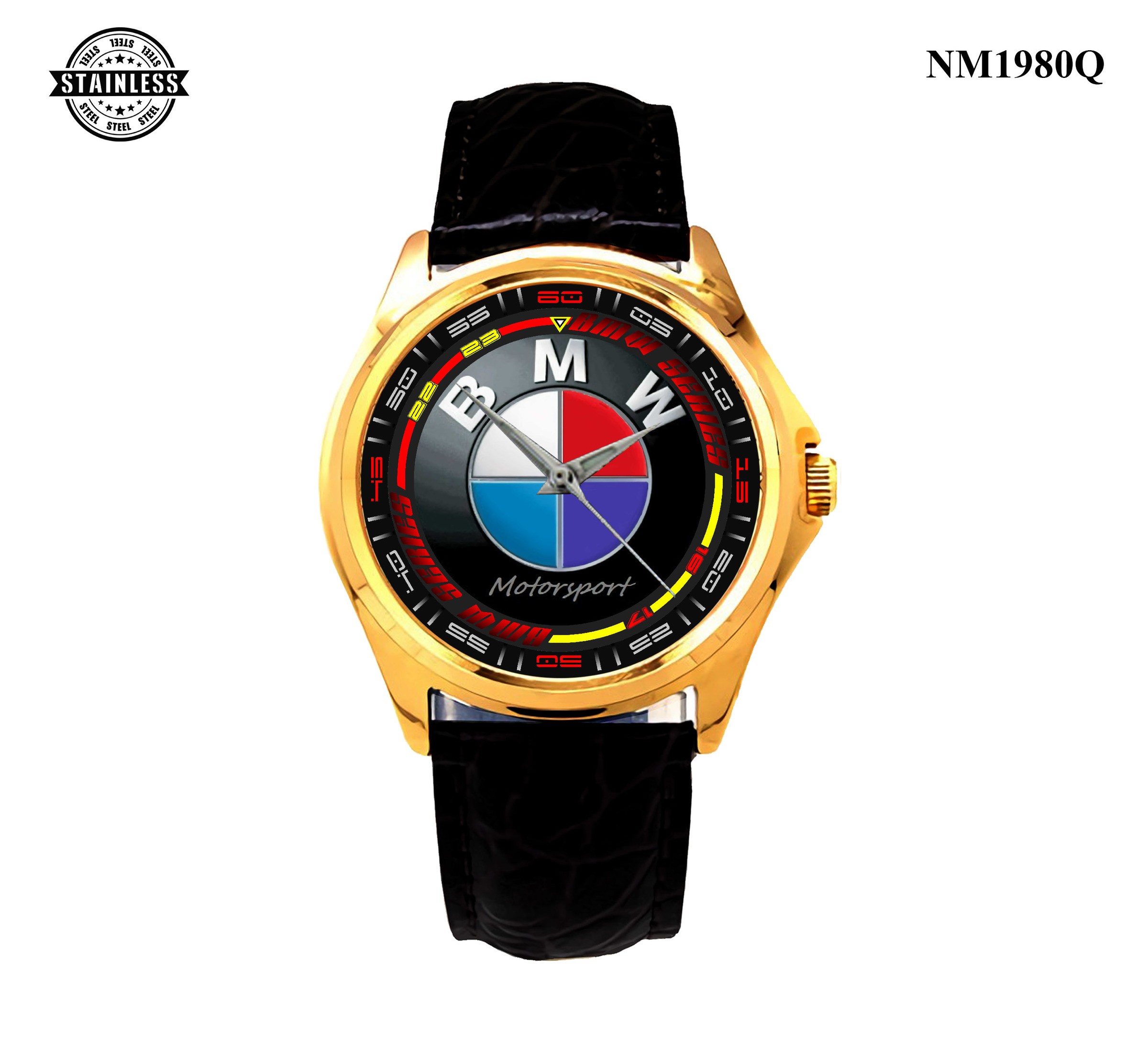 1.56 New Design BMW MotorSport Mens Jewelery Sport Leather watch Gold.jpg