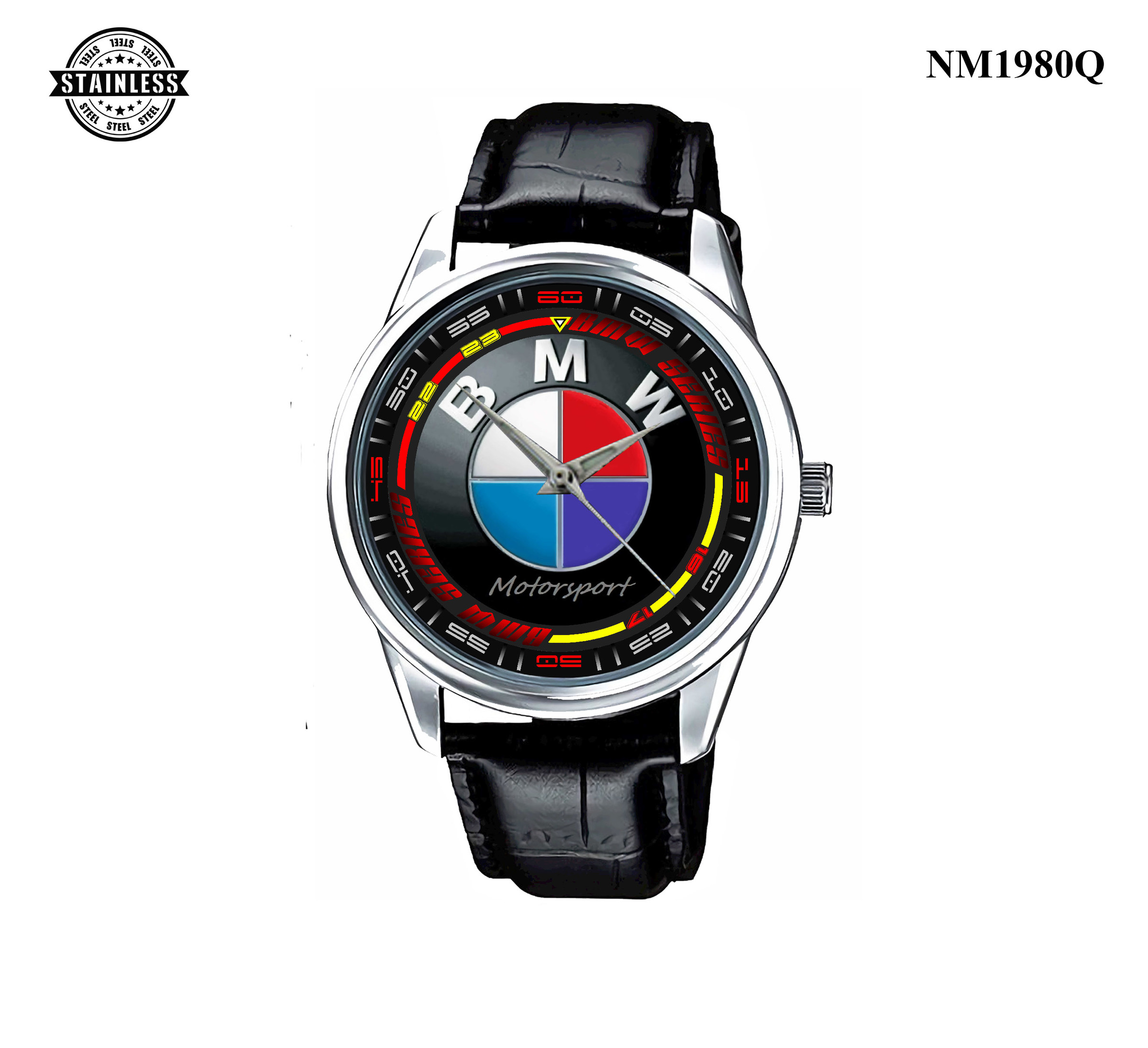 1.56 New Design BMW MotorSport Mens Jewelery Sport Leather watch Silver.jpg