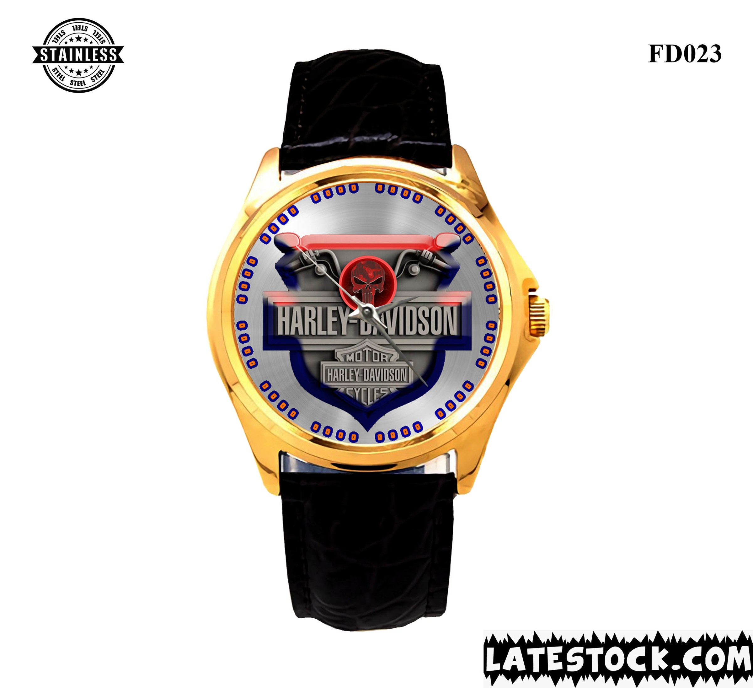 LIMITED EDITION !!! NEW HARLEY-DAVIDSON-MOTORCYCLE-LOGO-SPORT-METAL-WATCHES LEATHER BAND GOLD.jpg