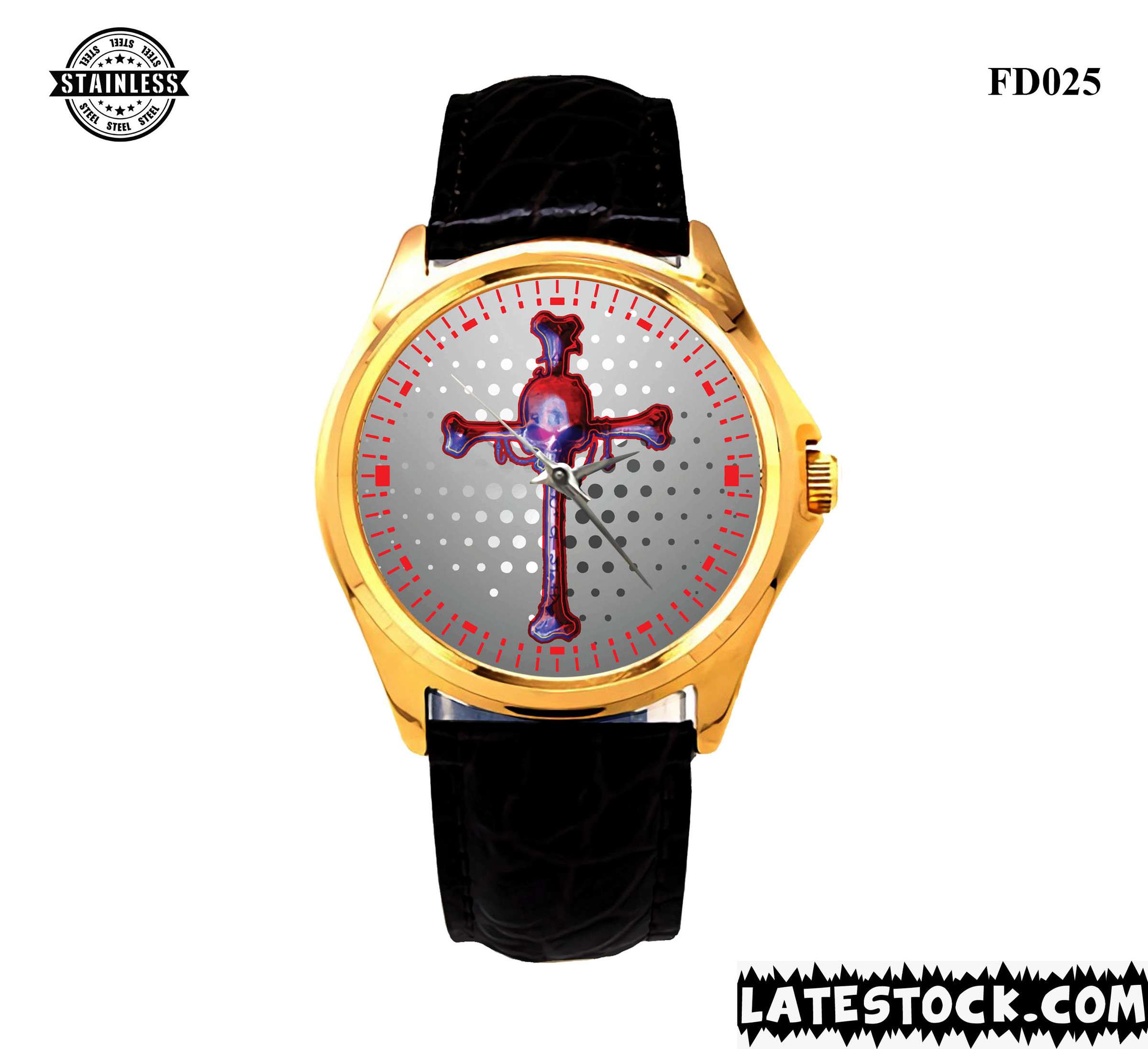 NEW DESIGN !!! RARE PUNISHER SKULL LOGO SPORT METAL WATCHES LEATHER BAND GOLD.jpg