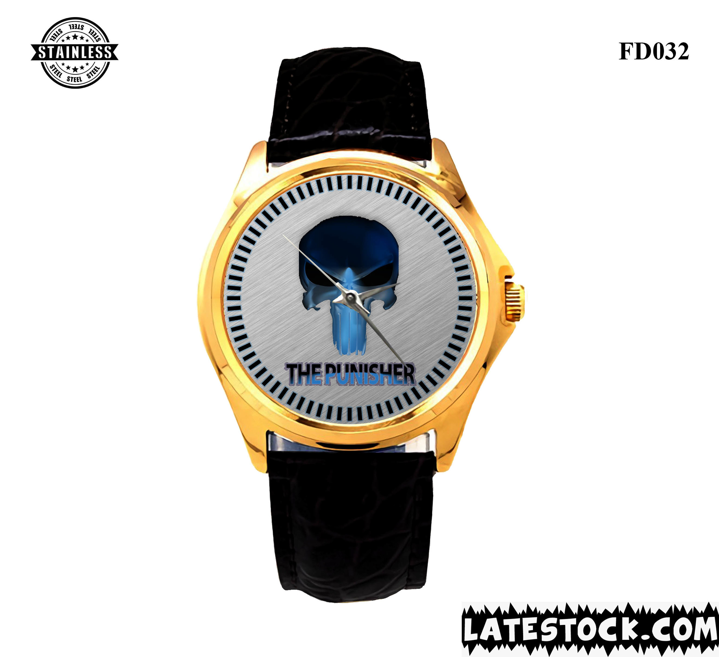 RARE !!! NEW DESIGN PUNISHER logo sport metal watches LEATHER BAND GOLD.jpg