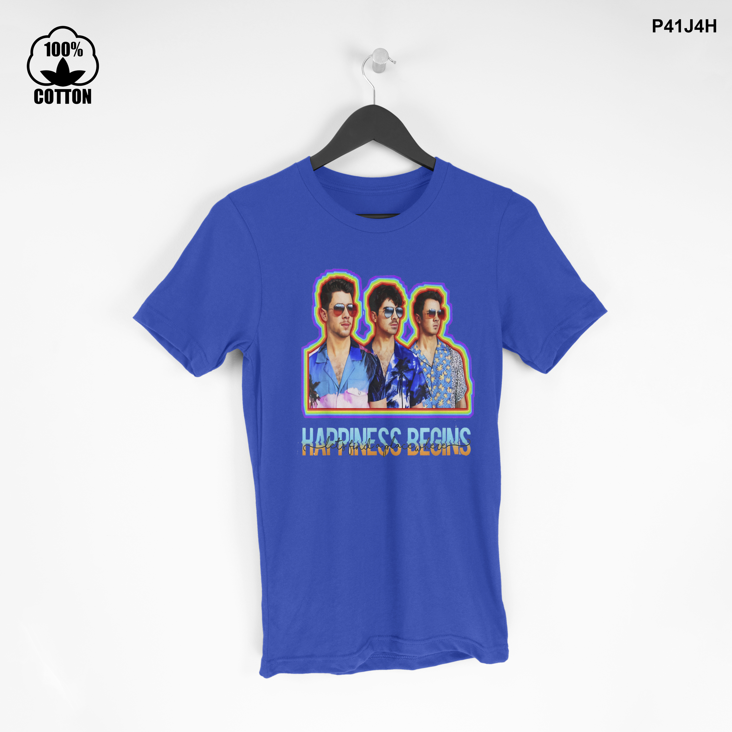 LIMITED EDITION!! Jonas Brothers Happiness T SHIRT TEE BEST GIVE Dodger Blue.jpg