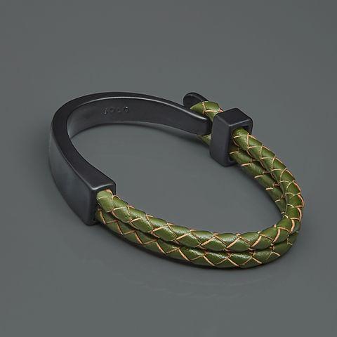 勾扣编织皮革手环-茶绿色2.jpg