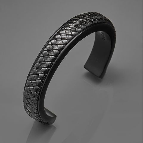 C型编织皮革手环黑色.jpg