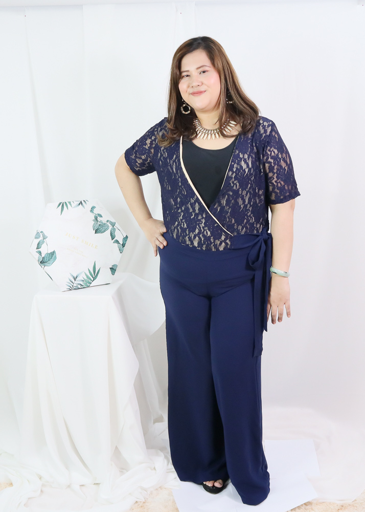 Plus Size V Neck Lace Jumpsuit