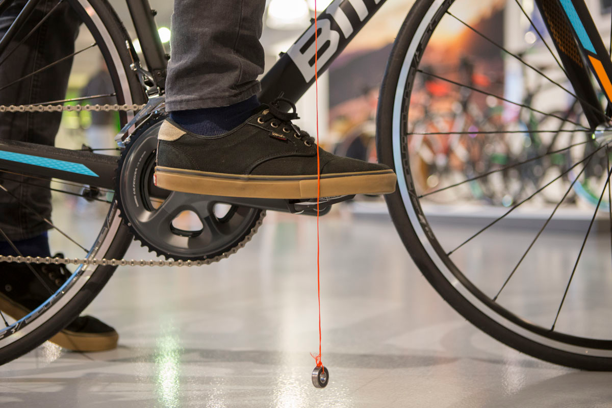 """The plump line should fall right """"through"""" the axle of your pedal."""