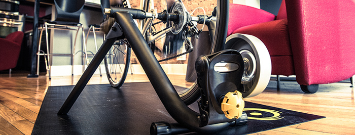 Riding on a CycleOps indoor bike trainer