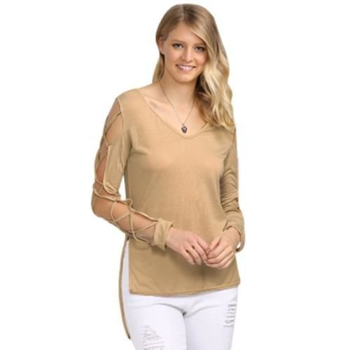 SEXY V NECK HOLLOW OUT SOLID COLOR T-SHIRT FOR WOMEN (KHAKI)