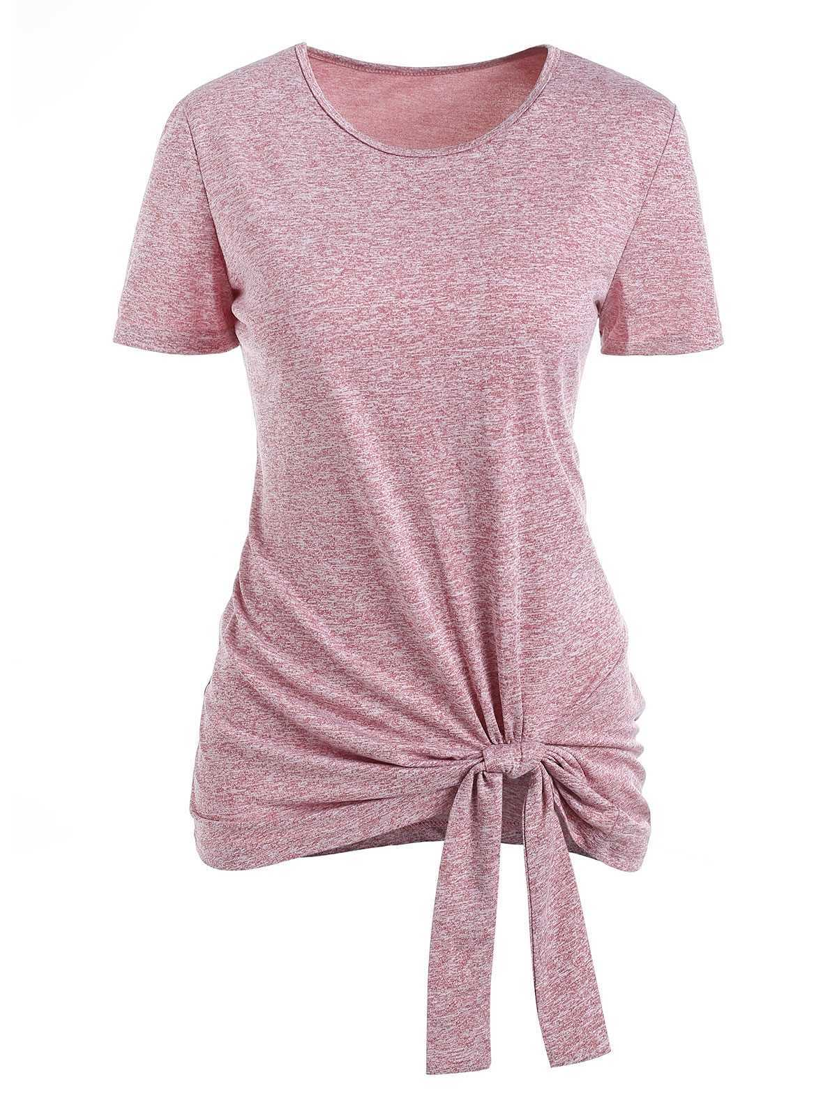 Space Dye Knotted Short Sleeve Tee (Lipstick Pink)