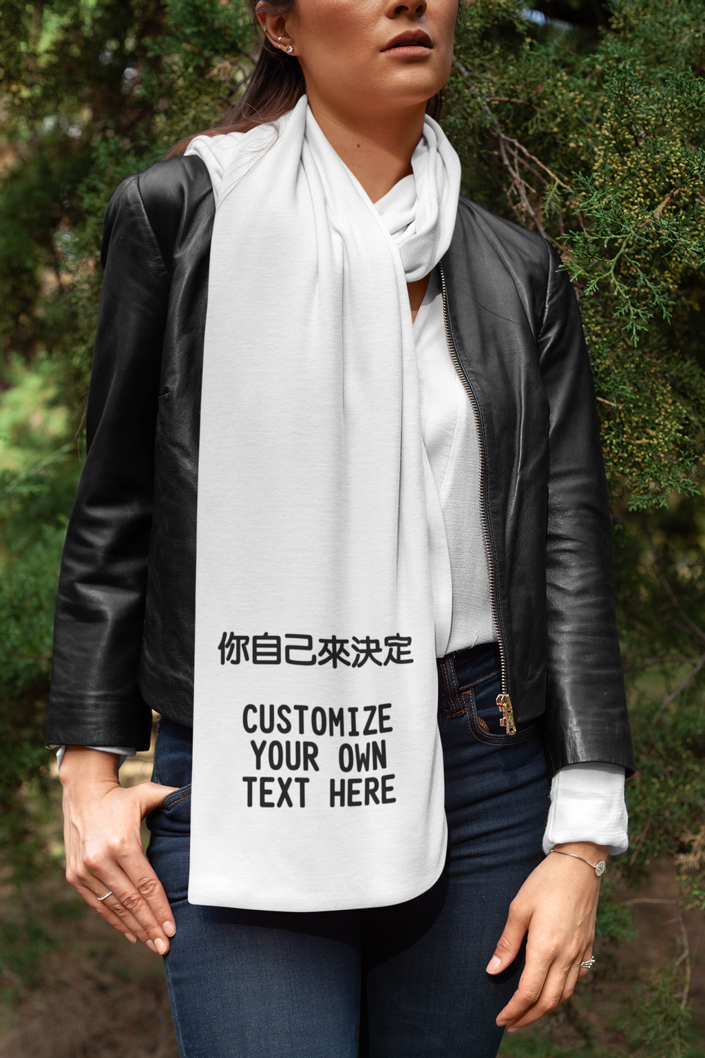 scarf-mockup-featuring-a-woman-with-a-leather-jacket-posing-by-some-bushes-25677.png