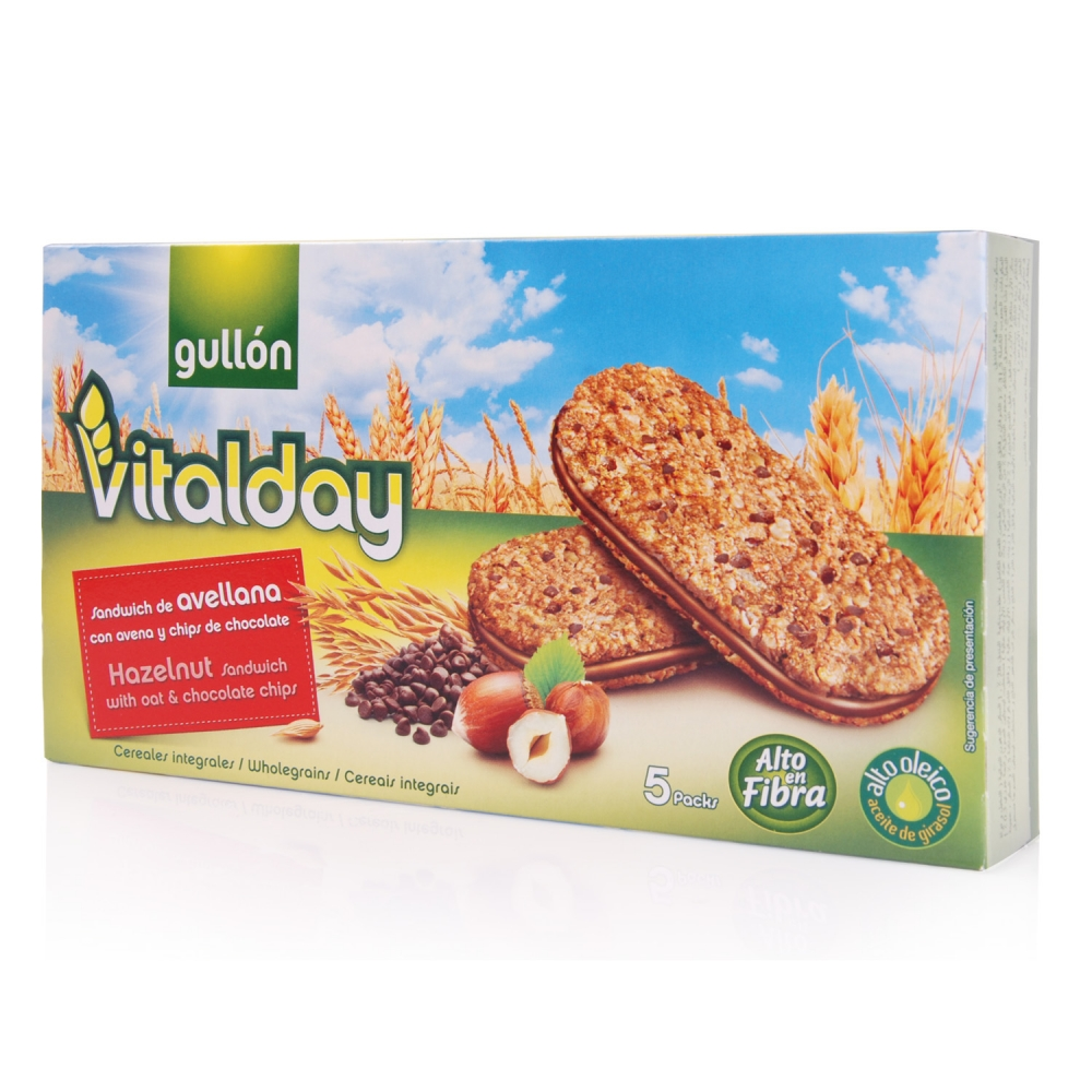 GULLON-Hazelnut Sandwich with Oat & Chocolate Chips (220g)