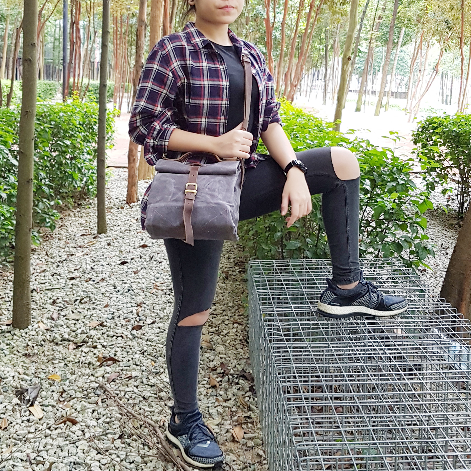 Genuine Leather And Waxed Canvas Roll Top Sling Bag Kinies