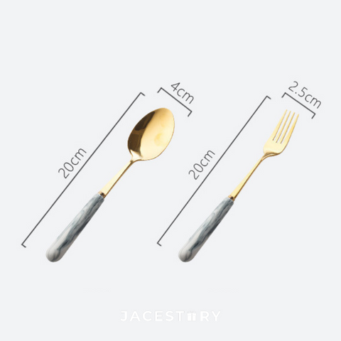 Marble Texture Cutlery Set