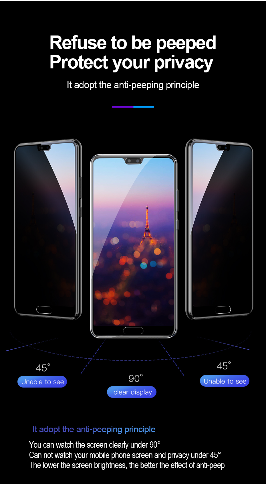 Baseus Huawei P20 0.3mm Privacy Full Cover Curve Anti-spy Black tempered glass_6.jpg