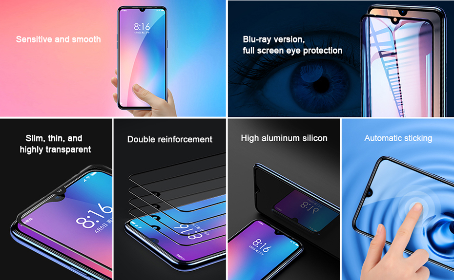 Baseus Xiaomi Mi 9 0.3mm Anti-bluelight Full Cover Curve Black Tempered Glass_2.jpg