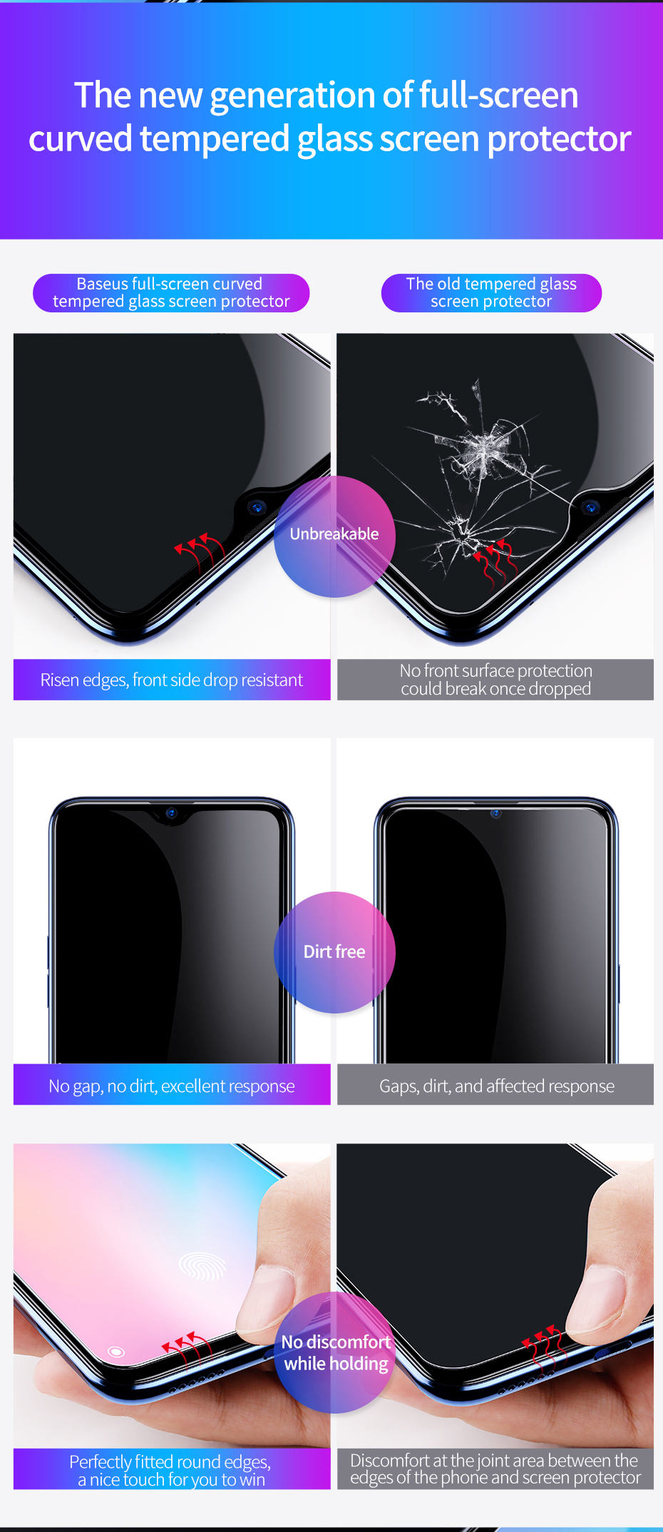 Baseus Xiaomi Mi 9 0.3mm Anti-bluelight Full Cover Curve Black Tempered Glass_5.jpg