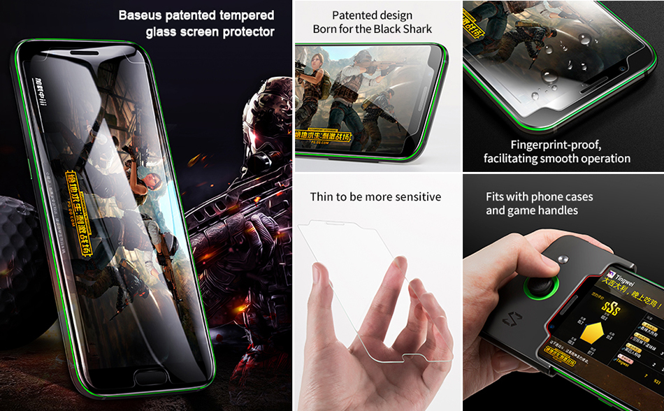 BASEUS 2Pcs 0.3mm Patented Tempered Glass Screen Protectors for Black Shark - Transparent_2.jpg