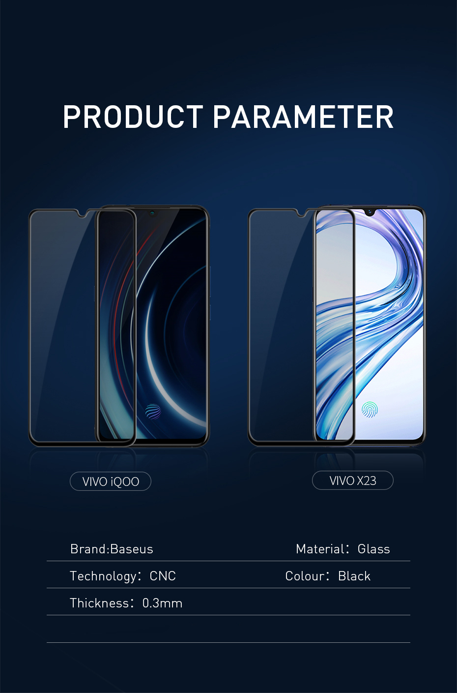 Baseus 0.3mm All-screen Arc-surface Anti-bluelight Tempered Glass Film For Vivo X23iQOO Black_13.jpg
