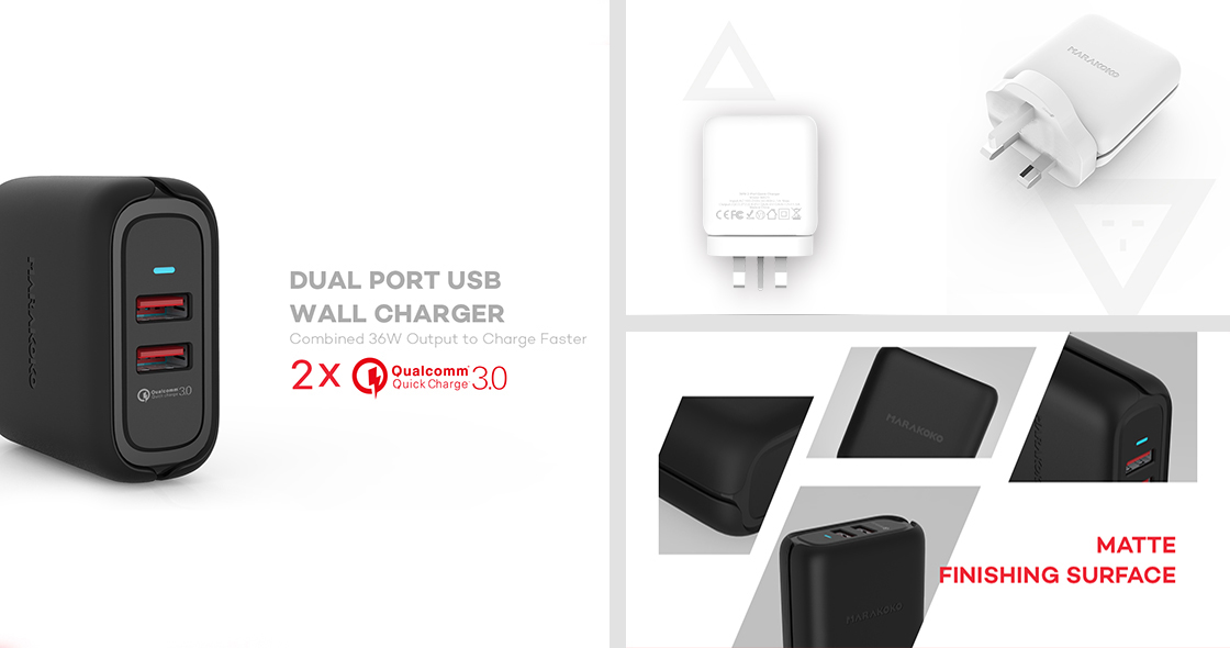 36W OUTPUT QC3.0 MARAKOKO MA23 DUAL USB WALL CHARGER (UK PLUG) BLACK_1.jpg