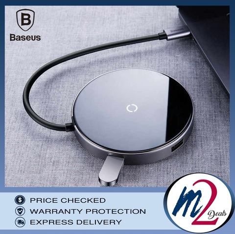 m2deals.my_Baseus Circular Mirror Wireless Charger HUB (TYPE-C to USB 3.0_1_grey.jpg