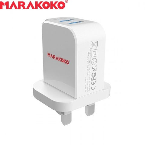 12W 2.4A MARAKOKO MA42 DUAL PORT SMART WALL CHARGER UK PLUG (WHITE)_4.jpg