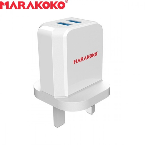 12W 2.4A MARAKOKO MA42 DUAL PORT SMART WALL CHARGER UK PLUG (WHITE)_3.jpg