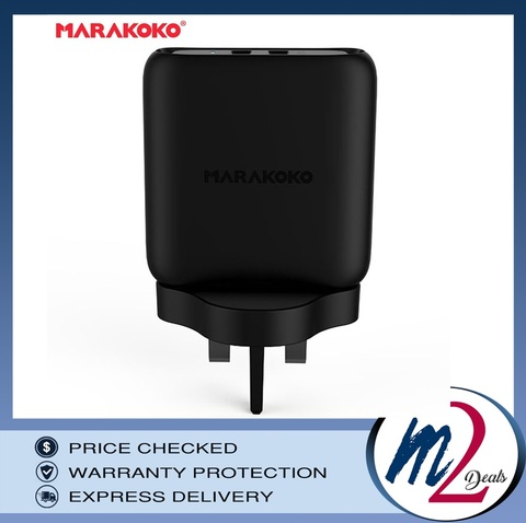 36W OUTPUT QC3.0 MARAKOKO MA23 DUAL USB WALL CHARGER (UK PLUG) BLACK_11.jpg