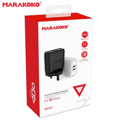 36W OUTPUT QC3.0 MARAKOKO MA23 DUAL USB WALL CHARGER (UK PLUG) BLACK_9.jpg
