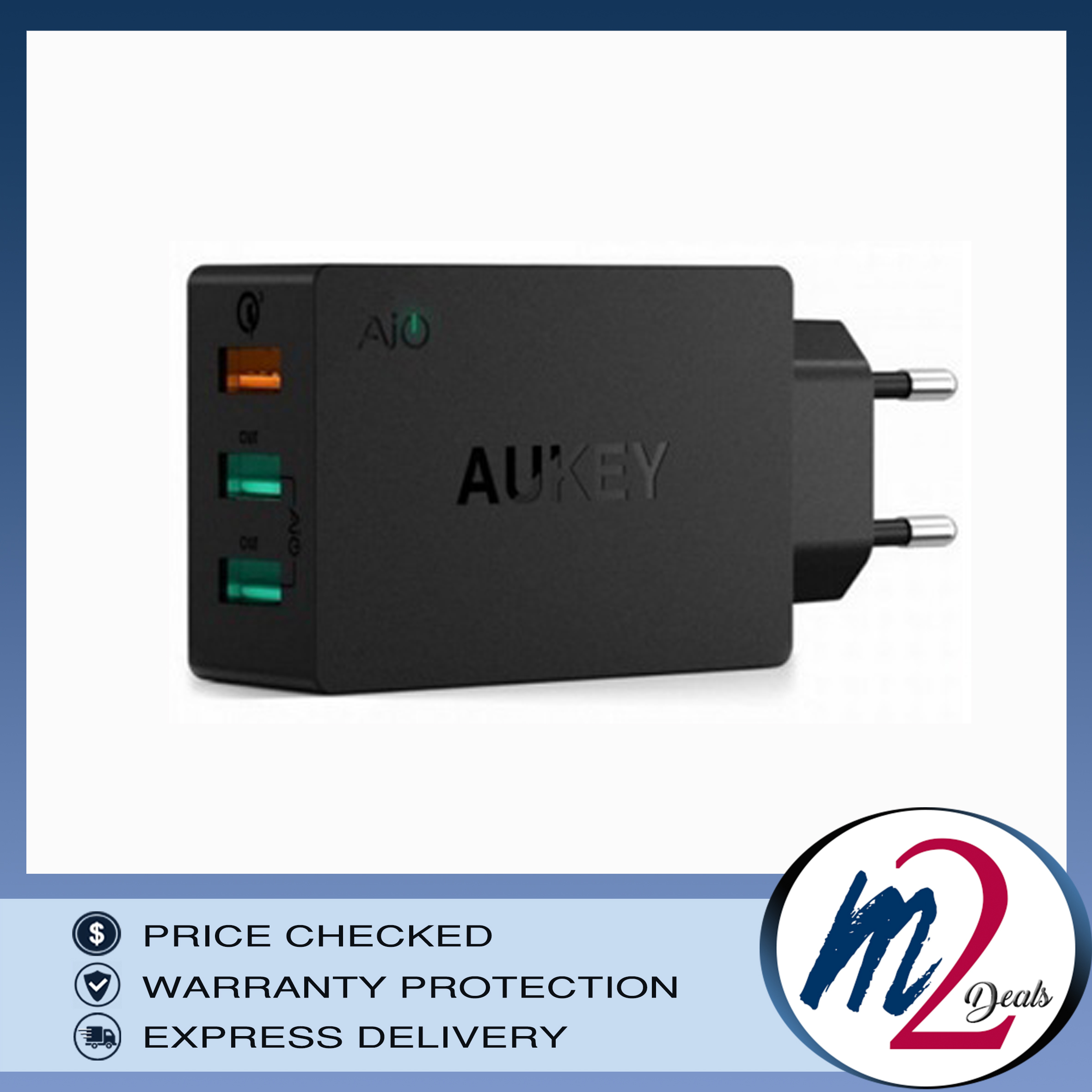 Aukey 3 Usb Port Qualcomm Quick Charge 30 Wall Charger Pa T14 Travel Home Adaptor Turbo T9 Original 3port 42w 2x24a Ai Qc3
