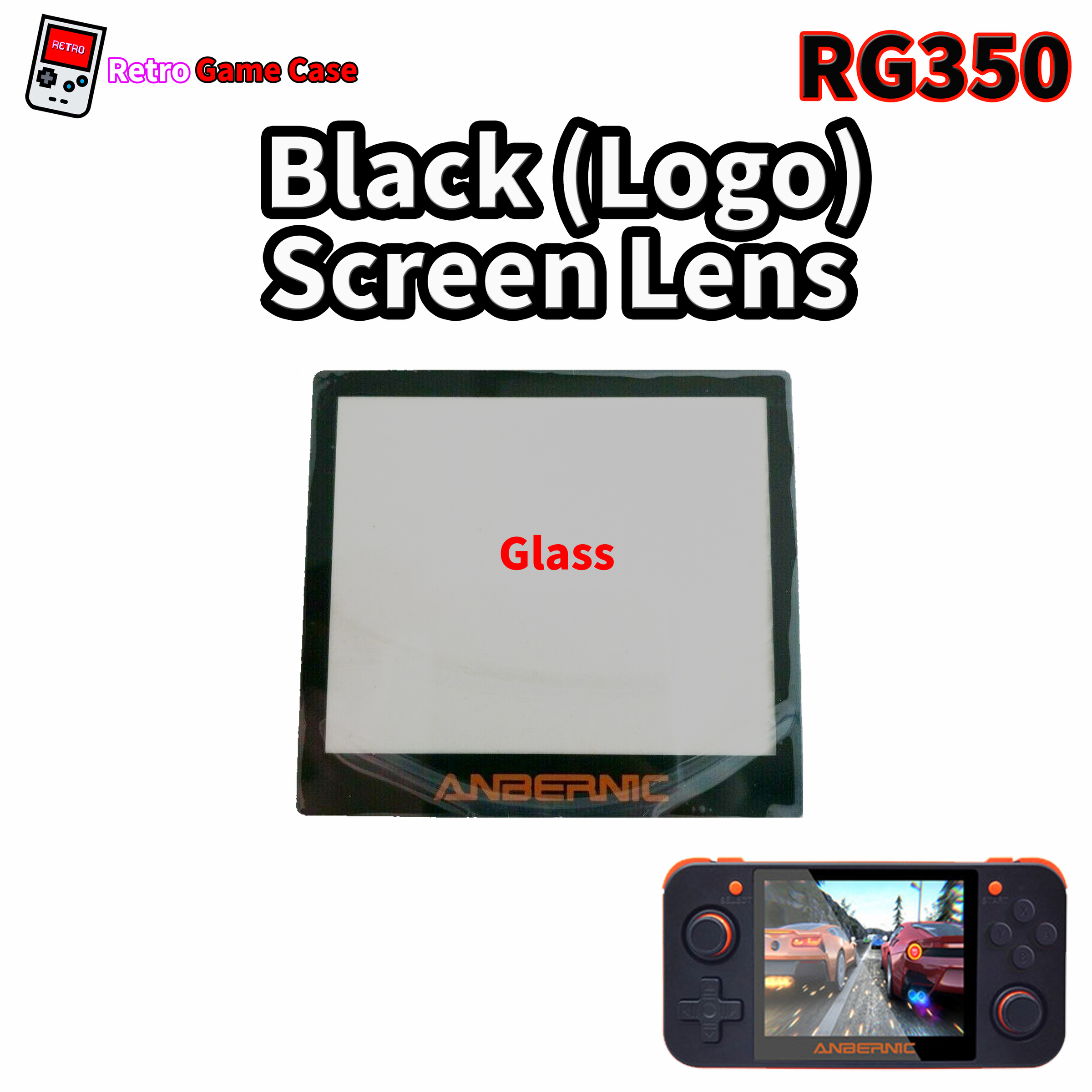 RG350 Screen Lenses with Logo (Glass)