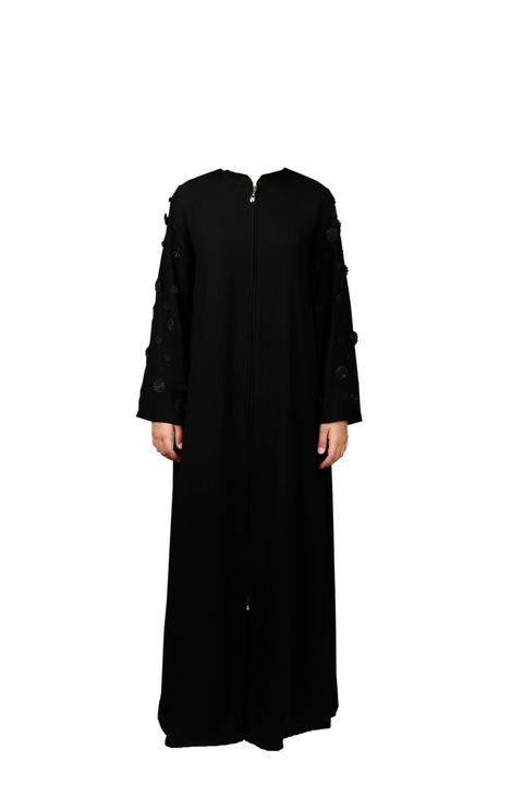 FSHTU011800046 Turkish Jubah - Blackflower On Black Front Zipper A.jpg