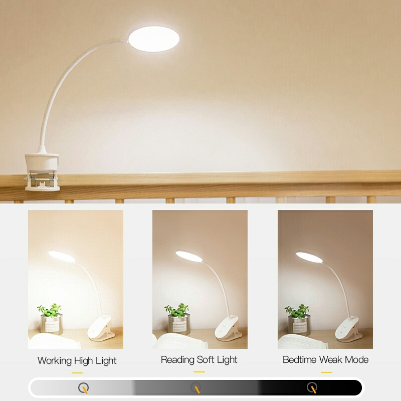 Rechargeable LED Study Lamp Goose-neck Clip and Stand Sensor Touch Lamp