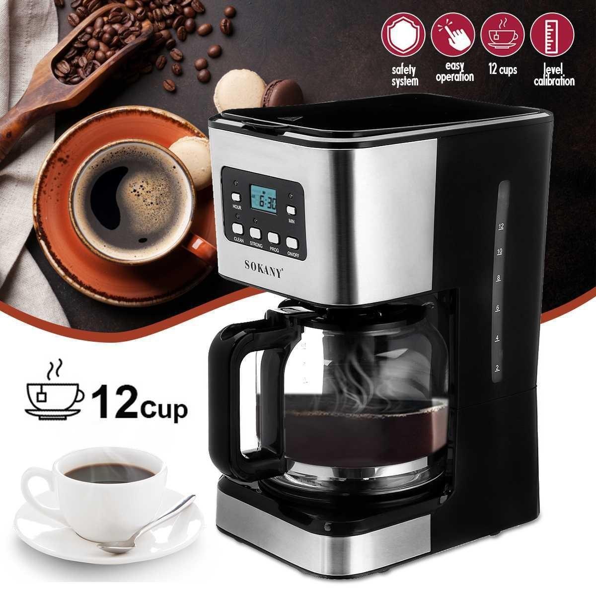 Electric Coffee Machines 12 Cups 1.5L Detachable Electric Foam Coffee Maker
