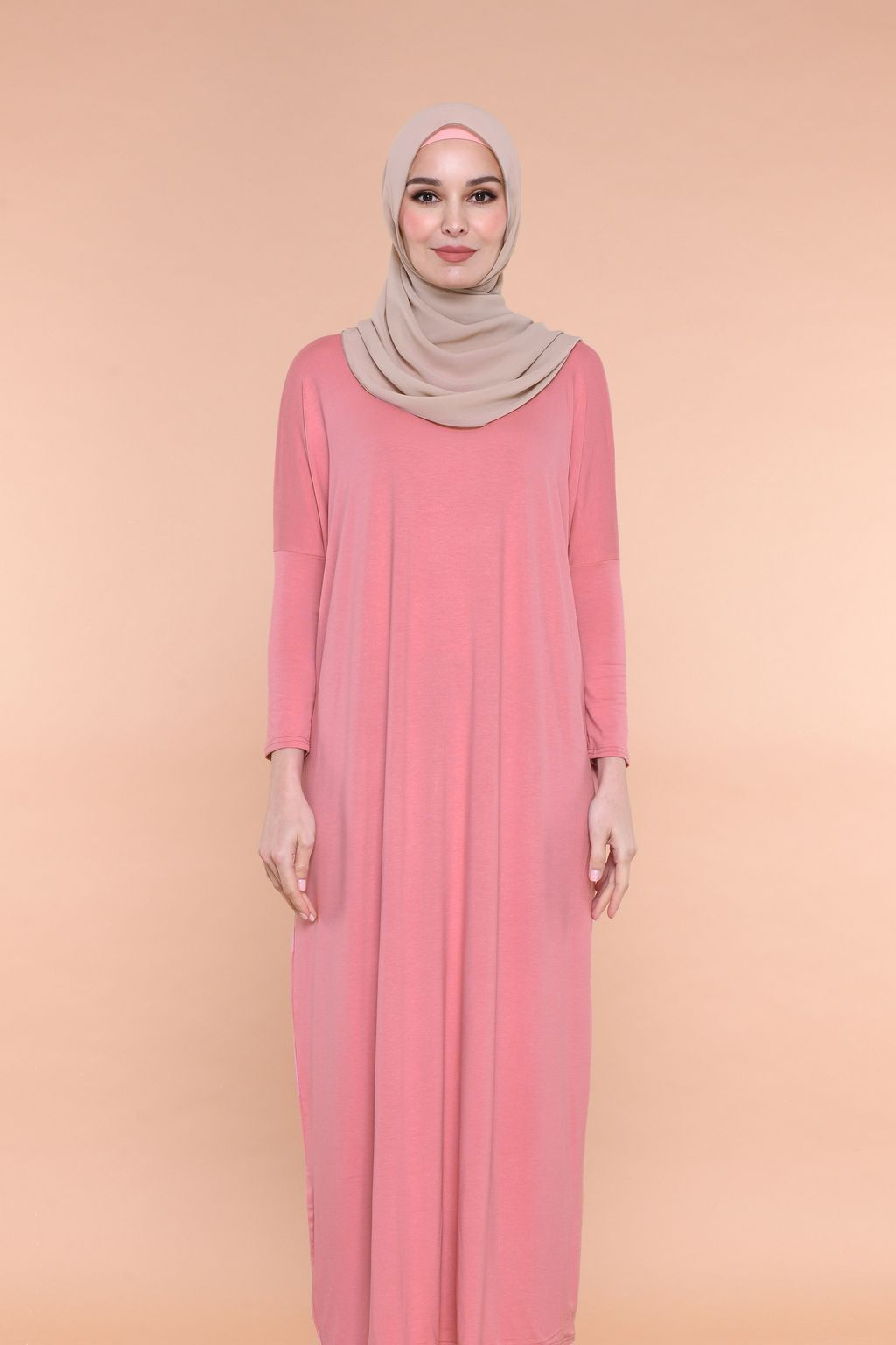 Batwing Dress in Coral Pink.jpg
