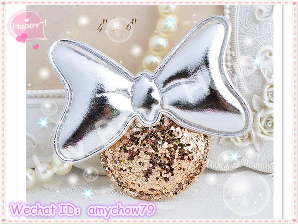 M8437 韩版pu皮质蝴蝶结亮片女童米奇发夹
